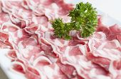 stock photo of grommets  - Sliced lamb meat on plate for shabu - JPG