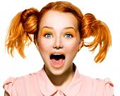 stock photo of freckle face  - Screaming Funny Teen model Girl face closeup - JPG