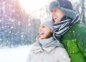 stock photo of freeze  - Winter couple - JPG