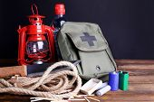 stock photo of accident emergency  - Emergency preparation equipment on wooden table - JPG