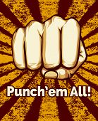 foto of pugilistic  - Grunge Retro Punching Fist Poster on Alternate Red Yellow Background - JPG