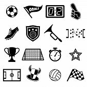 pic of stopwatch  - Set of football fans or team supporters icons for cheering on their team to win  a trophy  flags  stopwatch  score  goal  balls  and star  black and white vector silhouette - JPG