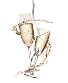image of squirt  - Two glasses of champagne with splash - JPG