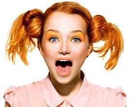 stock photo of freckle face  - Screaming Funny Teen model Girl face closeup - JPG