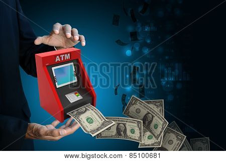 man hand showing teller machine