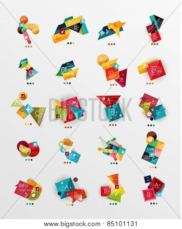 Set of glossy paper style geometric abstract infographics, 3d shapes with light edges