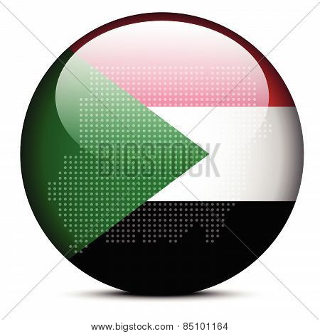 Map With Dot Pattern On Flag Button Of Republic  The Sudan