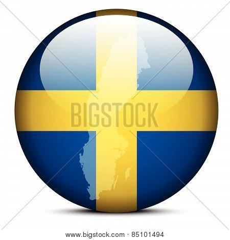 Map On Flag Button Of Kingdom Sweden