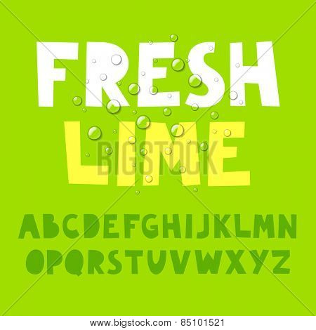 Fresh lime alphabet. Vector.