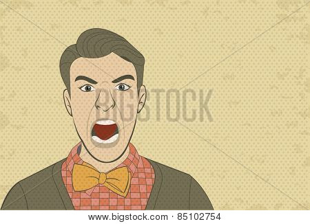 Angry retro man screaming. Vintage art.