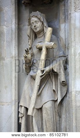 VIENNA, AUSTRIA - OCTOBER 11: Saint Helena of Constantinople facade of Minoriten kirche in Vienna, Austria on October 11, 2014.