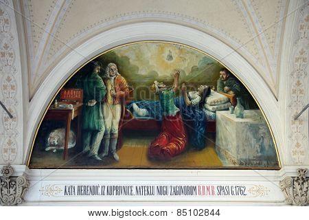 MARIJA BISTRICA, CROATIA - OCTOBER 26: Votive paintings, pilgrimage Sanctuary, Assumption of the Virgin Mary in Marija Bistrica, Croatia, on October 26, 2013