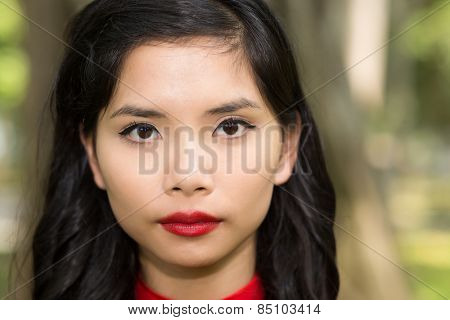 Close up Portrait of a Pretty Asian Young Woman Face with Make up Staring at the Camera.