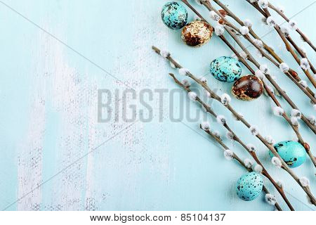 Bird colorful eggs in nest and pussy willow branches on wooden background