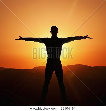 Mister Rejoices Victory At Sunset