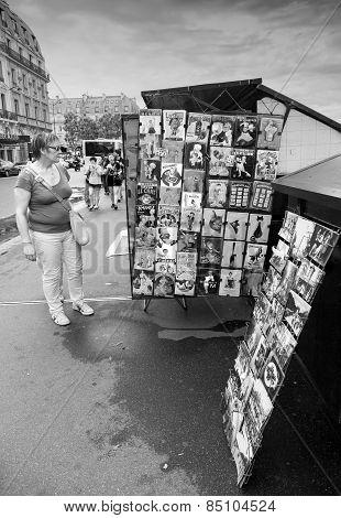 Small Souvenir Shop Counter With Postcards In Paris