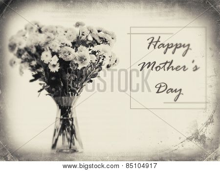 Beautiful bouquet of flowers in vase with retro effect, Mother's Day concept