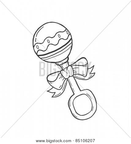 Digitally generated Hand drawn babys rattle in black vector