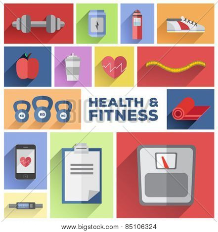Digitally generated Health and fitness tiles vector