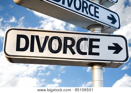 Divorce direction sign on sky background