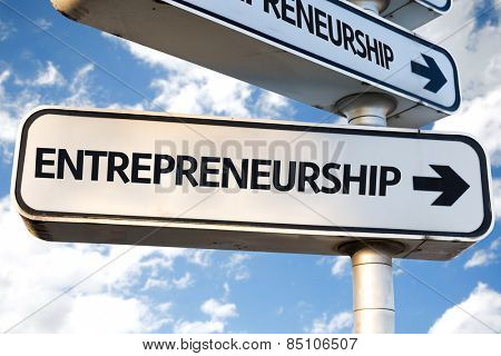 Entrepreneurship direction sign on sky background