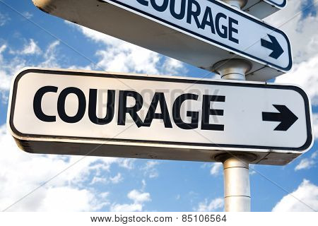 Courage direction sign on sky background