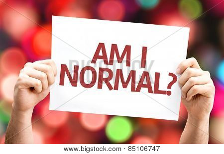 Am I Normal? card with colorful background with defocused lights