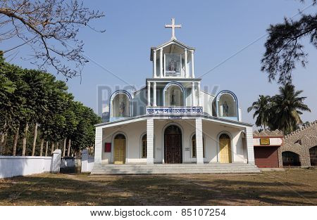 BASANTI, INDIA - FEBRUARY 13, 2014: The Catholic Church in Basanti, West Bengal, India. There are over 17.3 million Catholics in India which represents less than 2% of the total population.