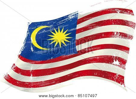 Malaysian grunge waving flag. Malaysian grunge flag with a texture in the wind