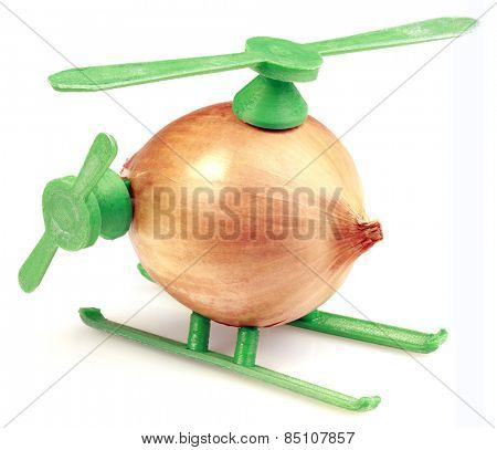 Helicopter Toy Improvisation Made with Onion and Plastic