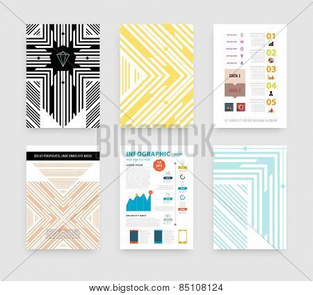Infographic Vector Illustration with Abstract Geometric Pattern Background. Business Template for Flyer, Banner, Placard, Poster, Brochure Design. Graphic Black Ornament and Elements. Technology Art.