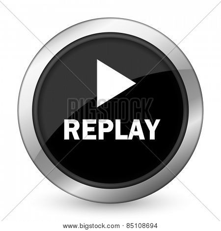 replay black icon