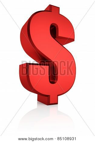 3D Red Dollar Sign