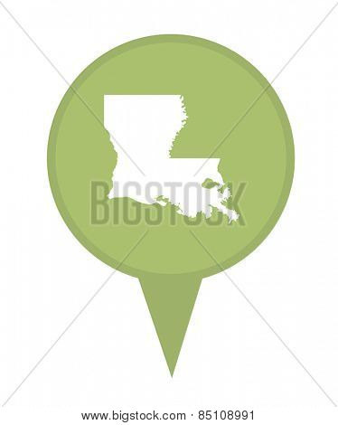American state of Louisiana marker pin isolated on a white background.