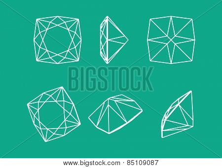 Collection shapes of diamond. Wireframe illustration cut precious gem stones set of forms