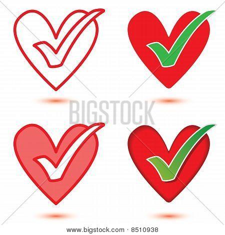 Vector Heart & Tick Icon Set