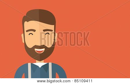 The hipster with a beard is laughing. Fun concept. Vector flat design illustration. Horizontal layout with a text space in a right.