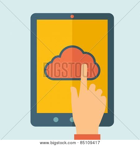 Finger touching cloud on a tablet touch screen. Cloud computing concept. Vector flat design Illustration.