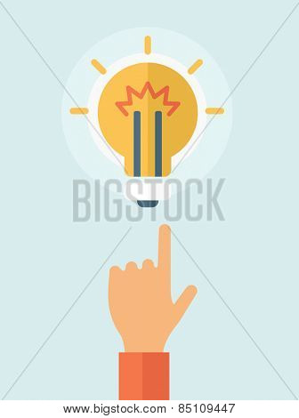 The hand pointing to the bulb. Idea concept.  Vector flat design illustration.