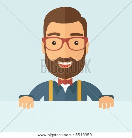 The man with a beard holding board. Vector flat design illustration.