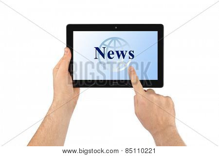 Hand with touchpad pc News isolated on white background