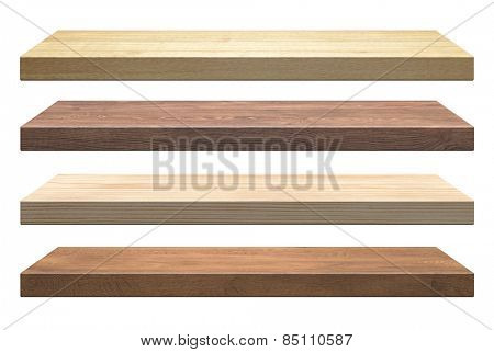 Wooden shelves isolated on white