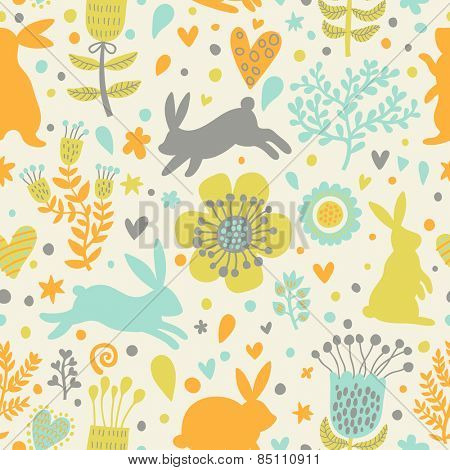 Sweet rabbits in hearts and flowers. Cute childish seamless pattern in cartoon style. Seamless pattern can be used for wallpapers, pattern fills, web page backgrounds, surface textures