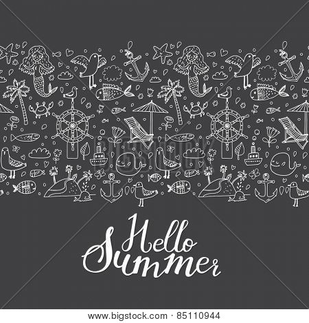 Hello summer - concept seamless pattern with a lot of symbols: palm, mermaid, fish, seagull, steering wheel, crab, anchor, chair, ship, starfish and others in vector