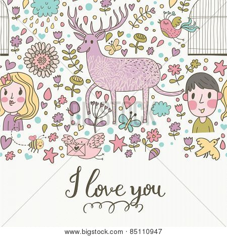 I love you - stylish romantic card made of flowers, couple of lover, ship, owl, deer, birds, stars and hearts in bright colors in vector. Sweet concept background for romantic design