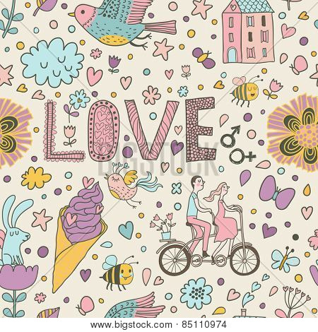 Stylish romantic seamless pattern with lovers, tandem bicycle, birds, ice cream, rabbit, bee, house and other elements in vector. Can be used for wallpapers, pattern fills, web page backgrounds.