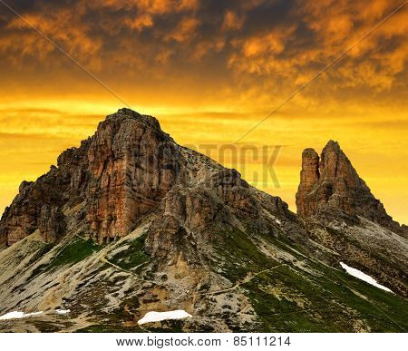 Mountain landscape at sunset - Sexten Dolomites, South Tyrol, Italy