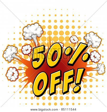Sign saying 50% off with background