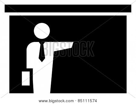 Businessman showing presentation icon