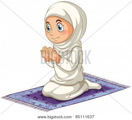 Female muslim praying on the carpet